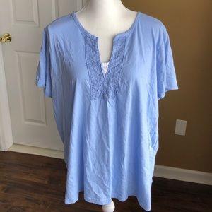 Comfy baby blue plus size cotton blouse